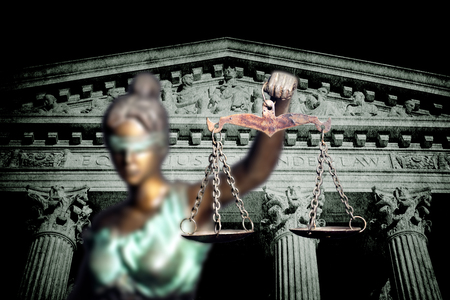 Lady Justice against jail background Stock Photo