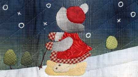 Quilt : Girl is skiing
