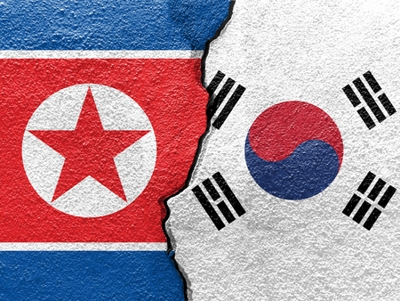South Korea and North Koreas flag on cracked wall (Concept of international conflict)