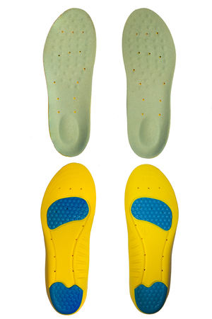 A pair of shoe insoles isolated on white background