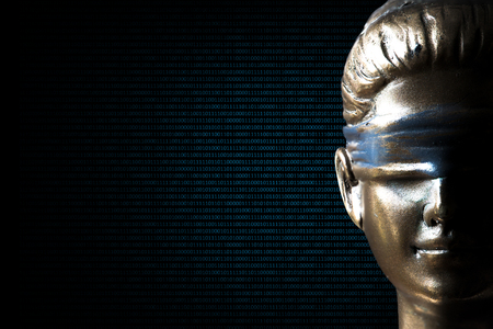 Lady justice on digital background (Concept of artificial intelligence lawyer) Archivio Fotografico