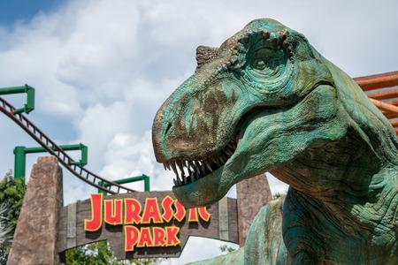 SINGAPORE- 12 MAY 2018 : Large T-Rex Model at Universal Studio Editorial