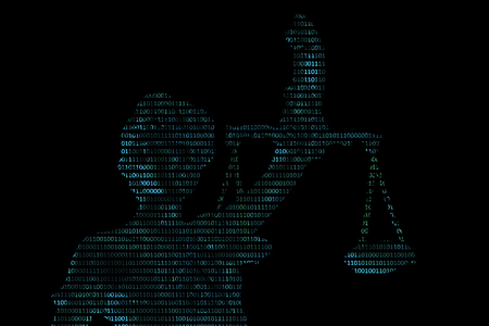 Lady justice on digital background (Concept of artificial intelligence lawyer) Stok Fotoğraf