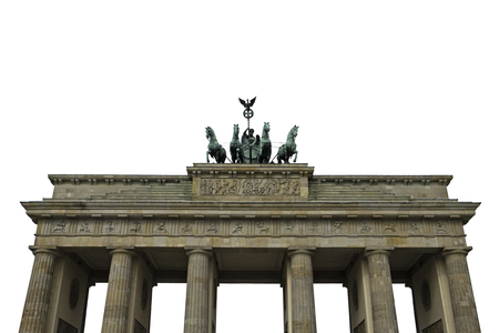 Brandenburg gate Berlin German isolated on white background Stock Photo