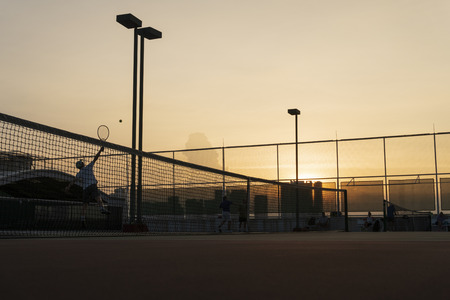 Tennis court in the dawn time