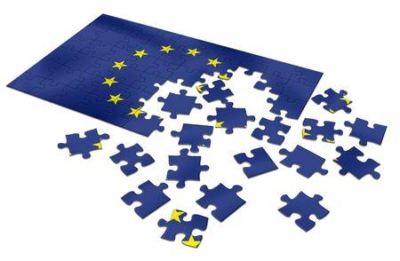 Rompecabezas europeo inacabado de la bandera de la uni�n Foto de archivo