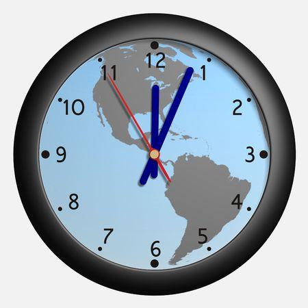 8 12: Clock with earth globe bkg