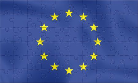 EU flag from 70 puzzle pieces