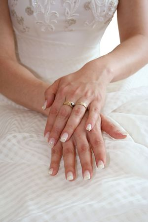 Closeup of brides hands photo