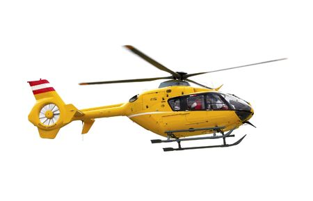 rescue helicopter: Yellow emergency helicopter