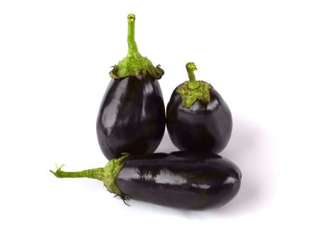 Isolated aubergines Stock Photo