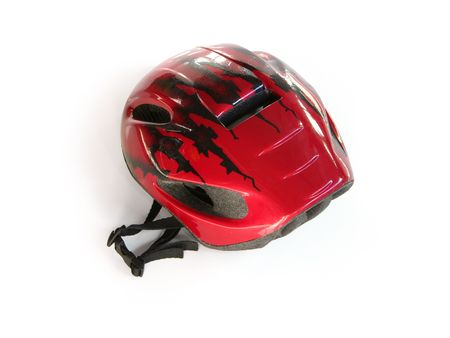 Red bike helmet (w clipping path) Stock Photo