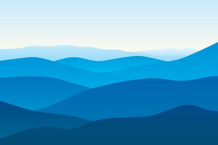 Vista de lejos las montañas azules en la niebla