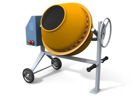 Concrete mixer on white (3d render, w clipping path)