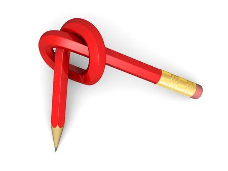 grafite: Red matita di grafite con nodo (3d rendering)