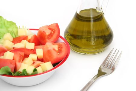 Close view of a vegetarian food and olive oil photo