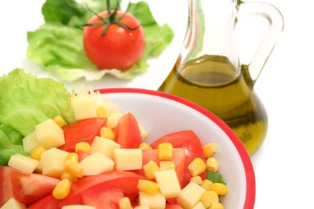 Close view of salad and olive oil photo