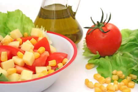 Close view of salad and its ingredients photo