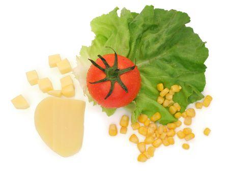 Top view of salad ingredients photo