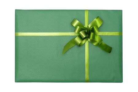 closed ribbon: Top view of an isolated green gift box