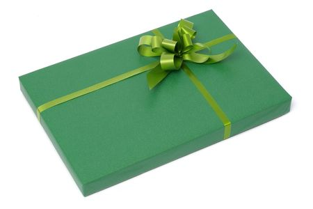 closed ribbon: Perspective view of an isolated green gift box Stock Photo