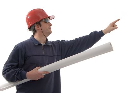 Engineer in red hat, pointing towards with finger Stock Photo - 763758