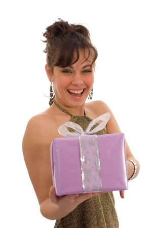 Happy girl, showing a purple gift box Stock Photo - 763717