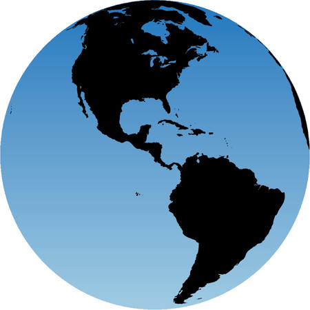 Virtual earth globe view - Americas Illustration