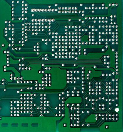 solder: Green printed circuit board background (solder side)