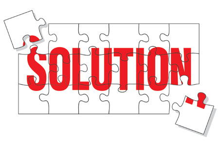 Puzzle pieces representing the solution, two more pieces missing