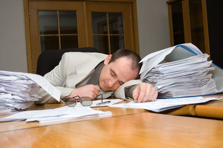 Businessman felt asleep late night in the office Stock Photo - 873552