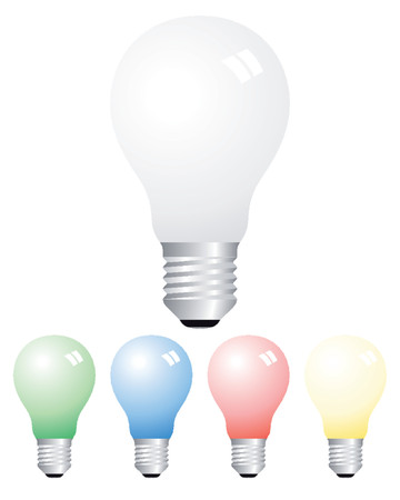 opaque: Opaque light bulbs of different colors Illustration