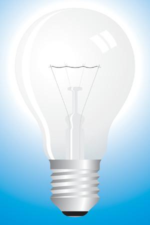 Clear light bulb on blue - idea concept