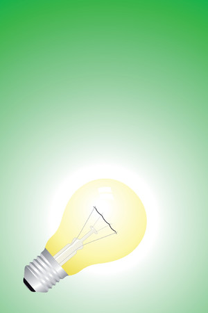 Green background with yellow bulb - idea concept Stock Vector - 903013