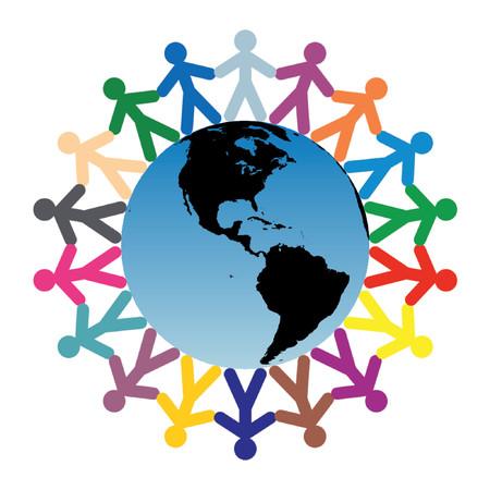 Colored children silhouettes around the world - Americas