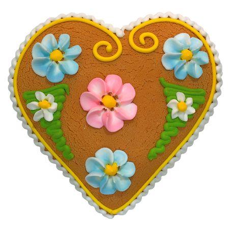 Heart-shaped handmade cake with ornaments photo
