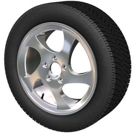 Detailed car wheel and tire (3d render) Stock Photo