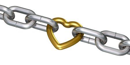 linked: Golden heart linked with steel chains (3d render)