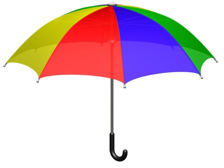 Open colored umbrella (3d render) photo