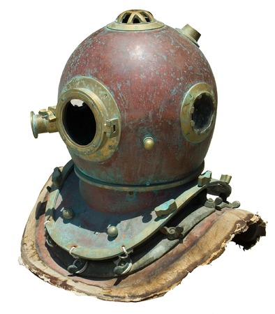 Antique copper scuba helmet (isolated) photo