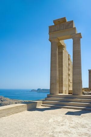 rebuilt: Partially rebuilt temple of Athena Lindia at the Acropolis of Lindos, Rhodes, Greece Stock Photo
