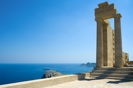rhodes: Partially rebuilt temple of Athena Lindia at the Acropolis of Lindos, Rhodes, Greece Stock Photo