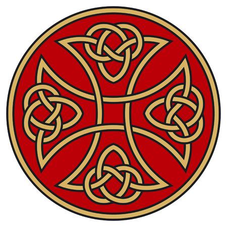 croce celtica: Simbolico croce celtica dettagliate ornamenti Vettoriali