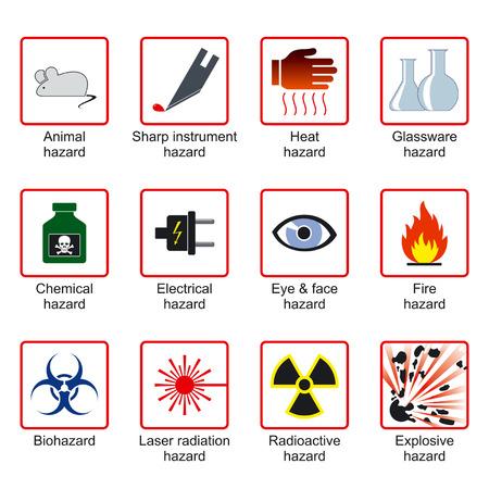 Laboratorio de seguridad símbolos para etiquetas de advertencia (vector)  Foto de archivo - 1512077