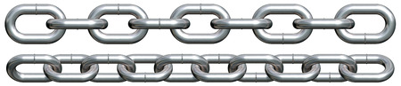 terminated: Side view of terminated chain pieces (3d render, incl. clipping path) Stock Photo