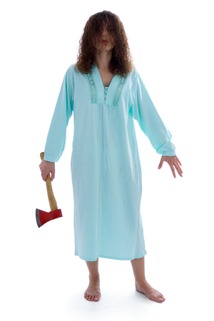 nightdress: Dangerous insane woman walking with axe