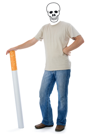 smoking kills: Smoking kills: man with skull instead of head, showing the final status of smoking: death. Stock Photo