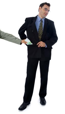 subornation: Businessman or politician kindly taking bribe Stock Photo