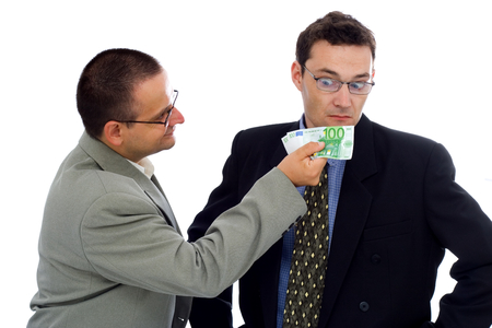 Businessman or politician showing some euros photo