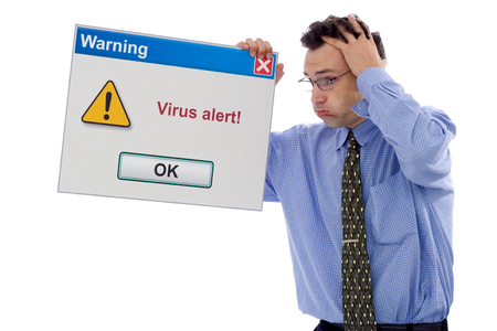 alerts: Confused man about a virus alert (big computer software dialog box)